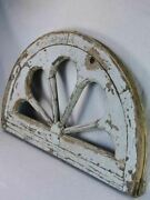 19th Century Salvaged French Timber Fan-shaped Window Frame 38andfrac12 X 24andfrac34