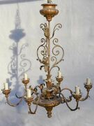 6-light Italian Chandelier With Leaf Decorations 31andfrac12