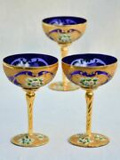 Collection Of 3 Cobalt Blue Hand-painted Italian Prosecco Glasses