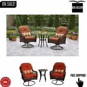3-piece Orange Patio Outdoor Bistro Table And Chairs Set Furniture Porch Deck