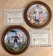 2 -1989 Knowles/disney Mary Poppins 8 Rd Collector Plates W/frames And Coa