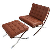 Tan Modern Lounge Chair And Ottoman Footstool Chair Genuine Leather Club Chair