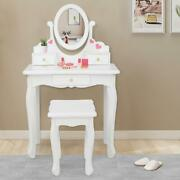 Kids Vanity Table And Stool Set With Drawer Dressing Table White For Girls Gifts
