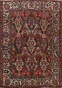 Antique Vegetable Dye Bakhtiari Geometric Area Rug Hand-knotted Oriental 9and039x10and039
