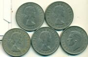 5 Large Half Crown Coins From Great Britain 1948, 1956, 1957, 1966 And 1967
