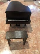 Vintage Doll House Brown Wooden Piano With Bench