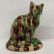 Antique Slipware Cat Model Figure Seated Canny Hill Pottery Bishop Auckland 1860
