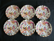 Royal Crown Derby Olde Avesbury A74 Pattern 6 X Fluted Dessert Plates 8½ins.