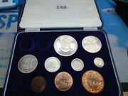 1960 South Africa Mint 9 Coin Part Set Gold Missing Crown - Farthing Long Box