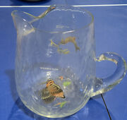 Drink Pitcher W/ Ice Lip Swirl Glass 7 X 6 Hand-painted Ned Smith Game Birds