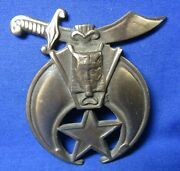 Vintage Shriners Symbol Heavy Brass Car Plate Topper Or Box Marker