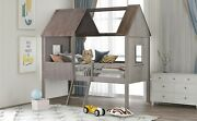 Kids Twin Size Low Loft Wood House Bed With Two Side Windows Kids Roof Escalator