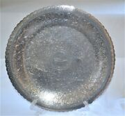 Vintage Large Round Middle Eastern Egyptian Engraved Coin Silver Tray Diameter