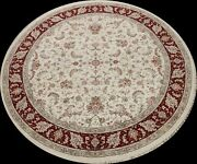 Ivory Vegetable Dye Tebriz Chinese Wool/ Silk Area Rug Hand-knotted 10x10 Round