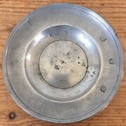 Antique German 1700s 18th Century Pewter Small Bowl Plate Lion Hallmarks 4.5
