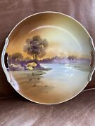 Antique Nippon Porcelain Hand-painted Plate Of Nature Scene. Japan Circa 1900