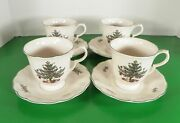 Nikko Happy Holidays Footed Cup And Saucer Set S Lot Of 4 Christmas Tree Blue