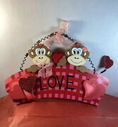 """Valentines Day Monkey's Wall Hanging Says """"happy Valentines Day"""""""