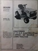 Sears Craftsman Lt 11 Lawn Tractor 4spand 36 Mower Owner And Parts Manual 917.254272