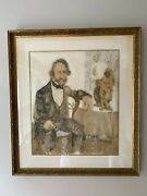 1961 Original Shelly Terman Canton Victorian Man Oil And Ink Painting