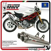 Mivv X-cone Pair Of Exhaust Homologated Inox For Ducati Monster S4rs 2006