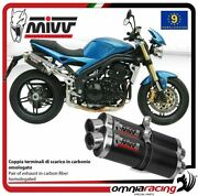 Mivv Oval Pair Of Exhaust Homologated Carbon For Triumph Speed Triple 20052006