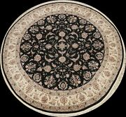Floral Black Aubusson Chinese Oriental Area Rug Wool/ Silk Round Handmade 8and039x8and039