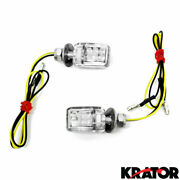 Motorcycle Mini Turn Signals Small Tiny Led Amber Light Cruiser Style Clear Lens