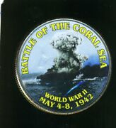 Fancy Colorized Kennedy Half Dollar 50c Coin Battle Of The Coral Sea Wwii