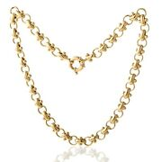 Ladies 14k Yellow Gold Puffed Link Necklace Large Spring Ring Clasp