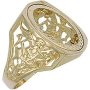 9ct Yellow Gold Full Square Top George And Dragon Sovereign Ring