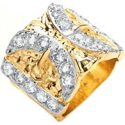 9ct Yellow Gold Cubic Zirconia Buckle Gents Ring