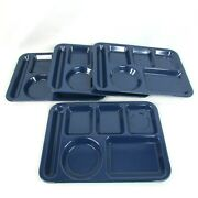 4 Vintage Texas Ware Trays 146 Dark Blue Divided Cafeteria Picnic Daycare Camp