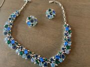 Vintage Blue Graduated Crystal Rhinestone Necklace Choker And Earrings