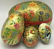 Vintage Paper Mache Candy Container Easter Eggs Nesting West Germany