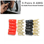5 Pairs 8 Awg Car Audio Speaker Power Ground Wire Fork Terminal Connector Brass