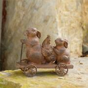 Primitive/country Bunny Rabbits Rooster Chicken On The Go Cart Free Ship