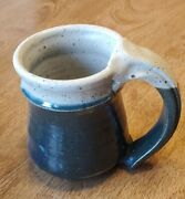 Teal And Beige Hand Thrown Studio Pottery Large Glazed Coffee Cup / Hot Cocoa Mug