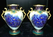 Magnificent Rare William A Adderley Co Pair Of Flow Blue Victorian Gold Vases