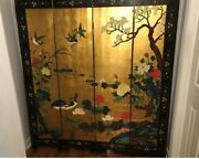 Antique/ Asian Oriental Vintage Four Panel Wood Lacquer Room Divider Screen