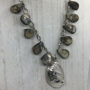 """Keshi Pearl Necklace Sterling Silver Chain Shell Pendant 17"""" Signed Toggle"""