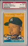 1958 Topps 150 Mickey Mantle Autographed - Psa/dna Certified 1 Pr-fr Svsc