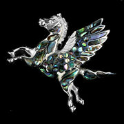 Fancy Mother Of Pearl 14k White Gold Plate 925 Sterling Silver Unicorn Pendant