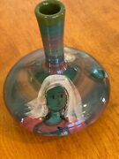 Polia Pillin Pottery Signed Hand-painted Art Vase With Lady And Bird