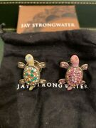 Jay Strongwater Multi-colored Turtle Pins / Brooch With Crystals