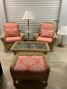 Custom Outdoor Lounge Chairs With Table, Lamps And Ottoman Set Of 2