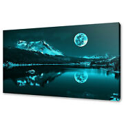 Stunning Full Moon Rising Over Lake Canvas Wall Art Print Picture Ready To Hang