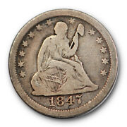 1847 O 25c Liberty Seated Quarter Fine F Better Date New Orleans Mint 10210