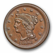 1853 Braided Hair Large Cent Broadstruck Mint Error About Uncirculated 10325