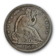 1867 S 50c Seated Liberty Half Dollar Very Fine To Extra Fine 5493